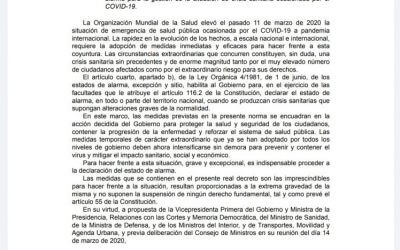 DECRETO ESTADO DE ALARMA Y MEDIDAS ECONÓMICAS.